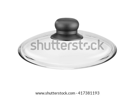 Lid from pan isolated on white - stock photo