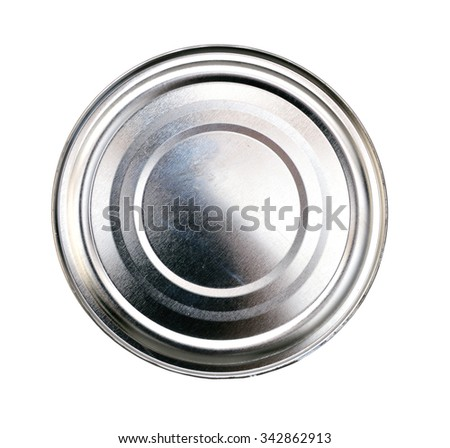 Lid or Base of Food Tin Can - stock photo