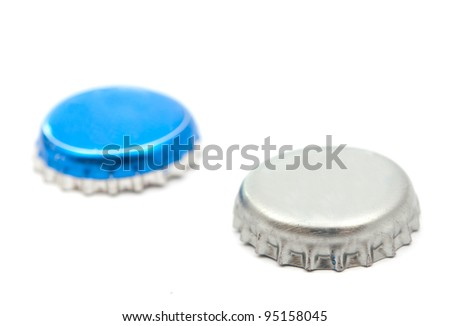lids from bottles isolated on white background - stock photo