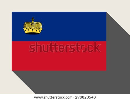 Liechtenstein flag in flat web design style. - stock photo