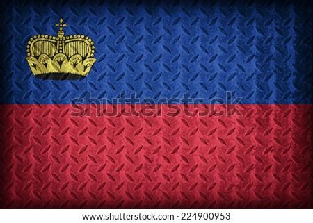 Liechtenstein flag pattern on the diamond metal plate texture ,vintage style - stock photo