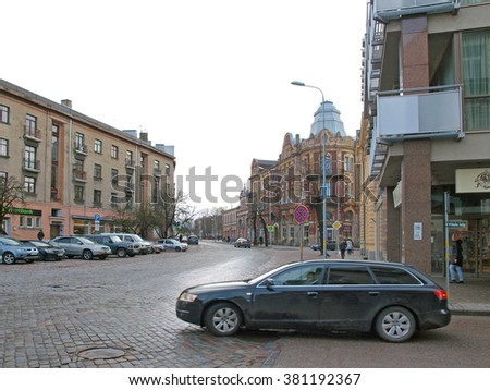 LIEPAJA, LATVIA - FEBRUARY 22, 2016: On Graudu street 44 is located old historical house built in art nouveau architecture style. - stock photo