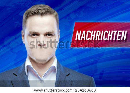"""Lies and hidden problems, television announcer  without a mouth on a background of the inscription """"News"""" in deutsch - stock photo"""