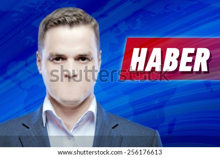"""Lies and hidden problems, television announcer  without a mouth on a background of the inscription """"News"""" in Turkish - stock photo"""