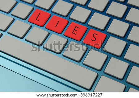 Lies for false information for online deceipt concept - stock photo