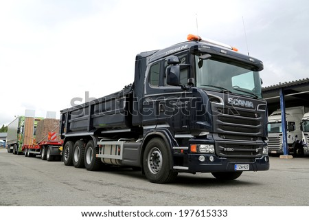 LIETO, FINLAND - MAY 30, 2014: Scania presents R580 truck for construction as part of their new range at Scania Euro 6 V8 Road Show.  - stock photo