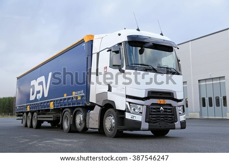 LIETO, FINLAND - NOVEMBER 14, 2015:  Renault Trucks T is available for test drive at the Volvo Truck Center Turku Demo Drive and Tire Service Event. - stock photo