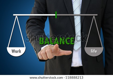 Life Balance Concept with Business Hand Pointing - stock photo