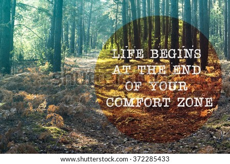life begins at the end of your comfort zone written on forest pathway landscape - stock photo
