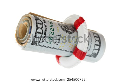 Life Belt Protecting Dollar Banknote Over White Background - stock photo