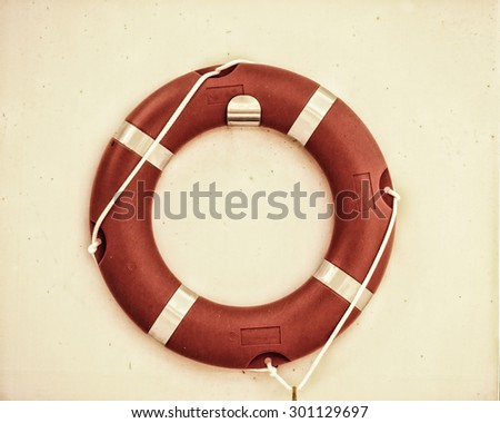 life belt, rescue ring, on wall - stock photo