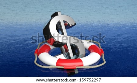 Life belt with dollar sign in open sea - stock photo