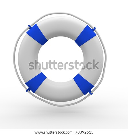 Life buoy blue on white background - This is a 3d render illustration - stock photo