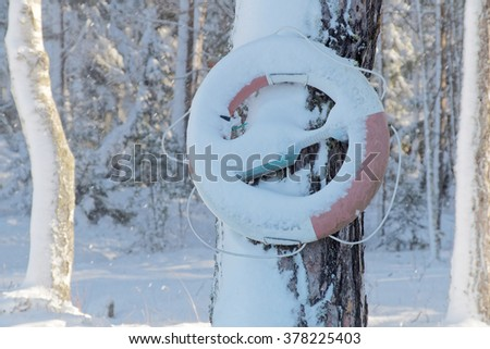 Life buoy hanging on a tree in the wintry landscape - stock photo