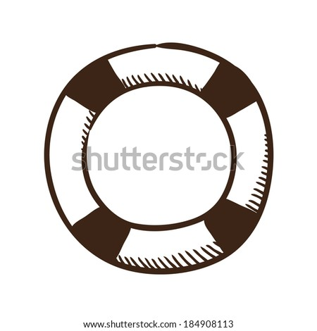 Life buoy help and safety symbol. Isolated sketch icon pictogram.  - stock photo