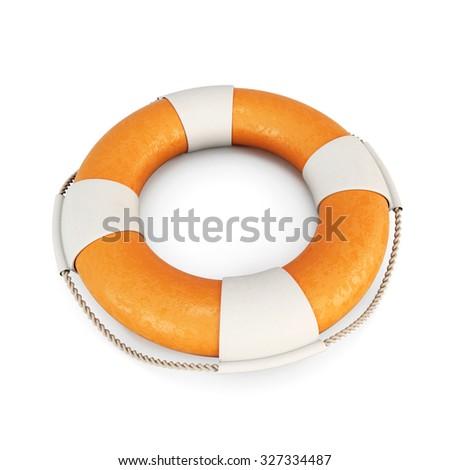 Life buoy isolated on white background. 3d render image. - stock photo