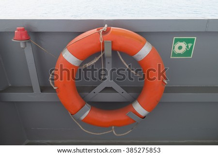 Life Buoy on offshore oil rig - stock photo