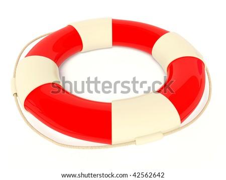 life buoy on white background - stock photo