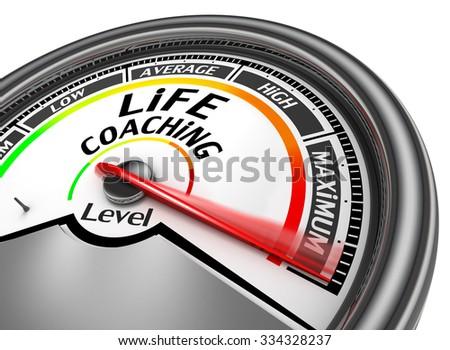 life coaching level to maximum conceptual meter, isolated on white background - stock photo