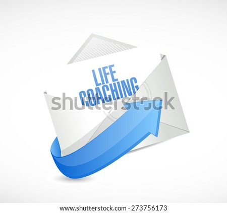 life coaching mail sign icon concept illustration design over white - stock photo