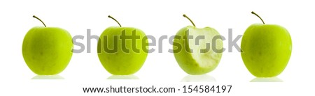 Life cycle of an apple. From the begining to the end of an apple being eaten. Isolated white background with reflection. series of an apple being eaten idea ??screening test weak reject  - stock photo