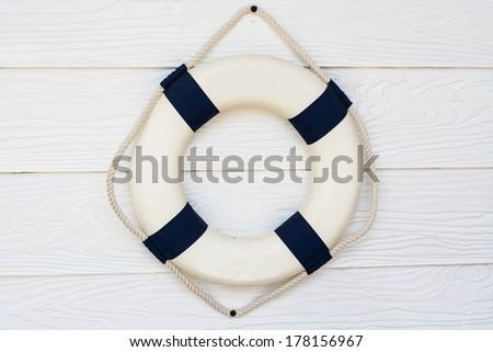 Life-guard hung in wall  - stock photo