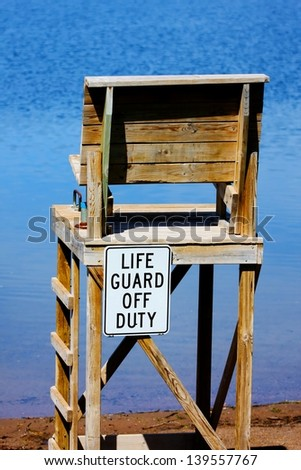 Life Guard off Duty chair at the beach. - stock photo
