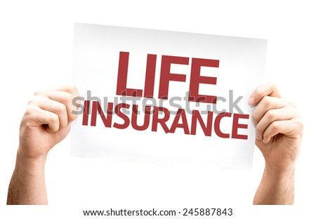 Life Insurance card isolated on white background - stock photo