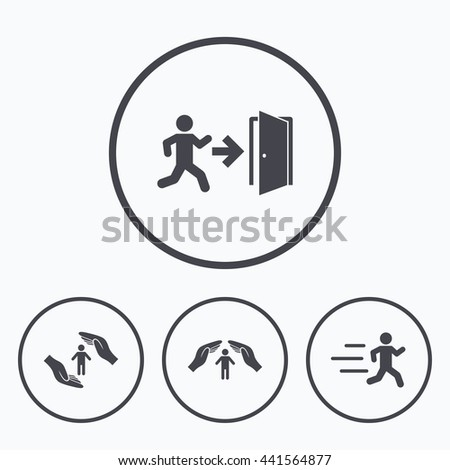 Life insurance hands protection icon. Human running symbol. Emergency exit with arrow sign. Icons in circles. - stock photo