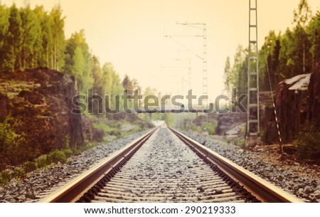 Life is a journey as a thought. Image of an empty railroad. Also image has a vintage effect. - stock photo