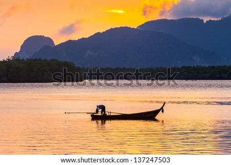 Life of asian fisherman - stock photo