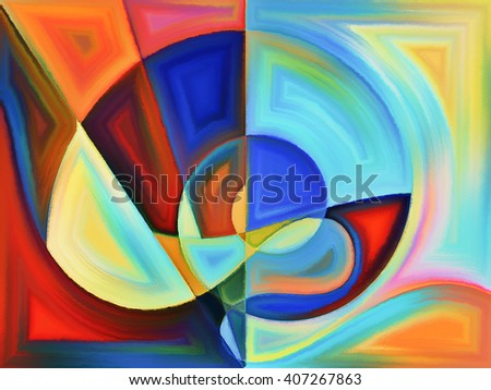 Life of forms series. Design made of abstract forms and shape to serve as backdrop for projects related to art, painting, design and education - stock photo