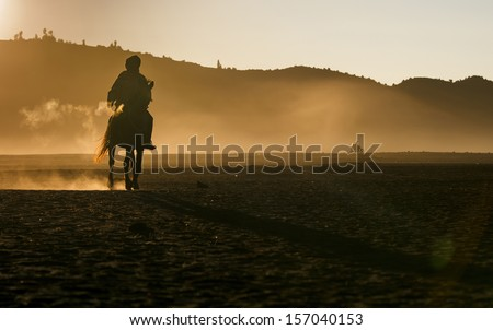 Life of People and Horse in Bromo , Indonesia - stock photo