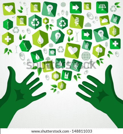 Life open human green hands eco friendly flat icons illustration. - stock photo