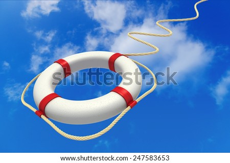 Life preserver in sky. Help concept. 3D - stock photo