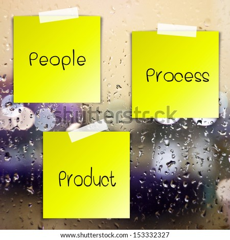 Life process sticky paper on glass with drops water background - stock photo