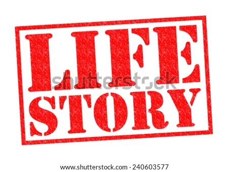 LIFE STORY red Rubber Stamp over a white background. - stock photo
