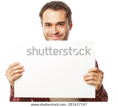 life style  and people concept:young handsome man showing blank signboard, isolated over white background - stock photo