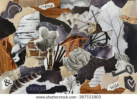 life style Atmosphere color grey, brown, black and black mood board collage sheet made of teared magazine paper with figures, letters, colors and textures, results in art - stock photo
