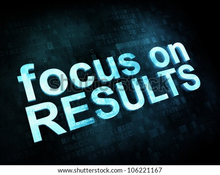 Life style concept: pixelated words focus on RESULTS on digital screen, 3d render - stock photo