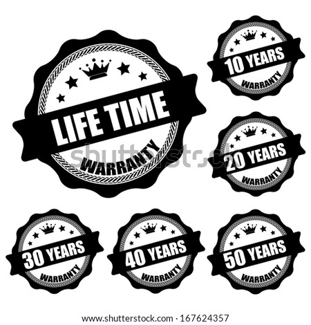 Life Time 10 - 50 years black stamp and sticker - jpg. - stock photo