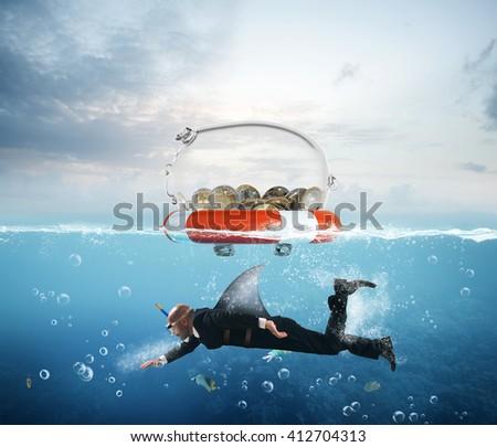 Lifebelt for money - stock photo