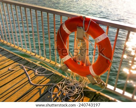 lifebelt on a boat deck - stock photo