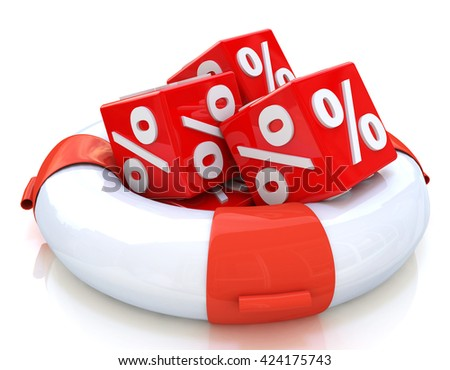 lifebuoy and cubes percent in the design of information related to the recovery and trade. 3d illustration - stock photo