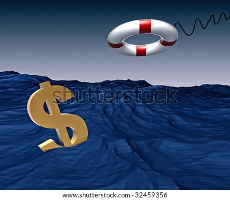 Lifebuoy dollar saving figure illustration - stock photo