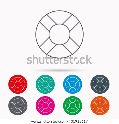 Lifebuoy icon. Lifebelt sos sign. Lifesaver help equipment symbol. Linear icons in circles on white background. - stock photo