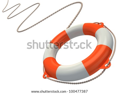 lifebuoy in the air 3d illustration - stock photo