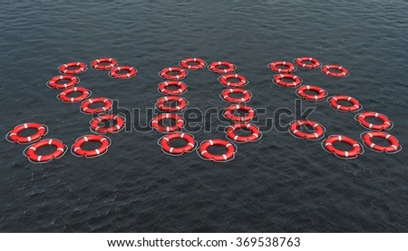Lifebuoy in the shape of SOS sign - stock photo