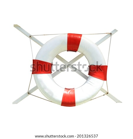 Lifebuoy isolated in white background. Clipping path included. - stock photo