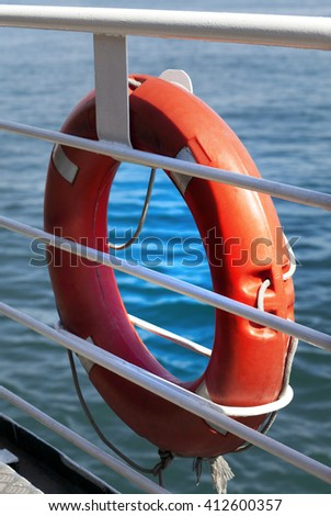 Lifebuoy on board. Close-up view. - stock photo